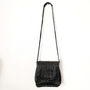 Vintage Talbots Black Woven Leather Crossbody Bag